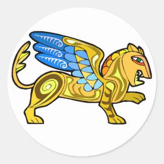 León con alas medieval Gryphon Pegatina Redonda
