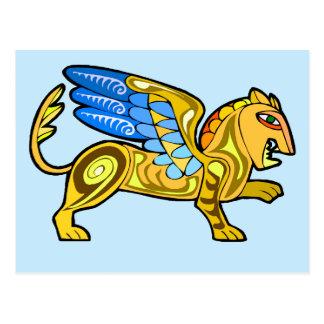 León con alas medieval Gryphon Tarjetas Postales