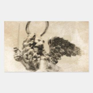 León con alas rectangular pegatina