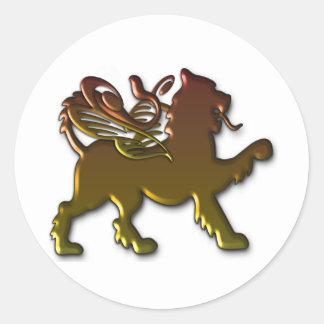 León con alas real etiquetas redondas