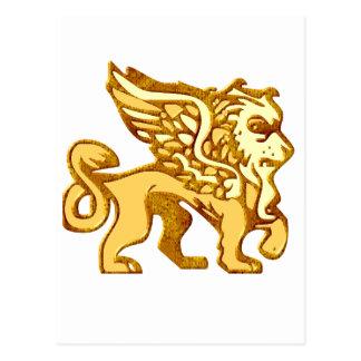 León con alas tarjeta postal