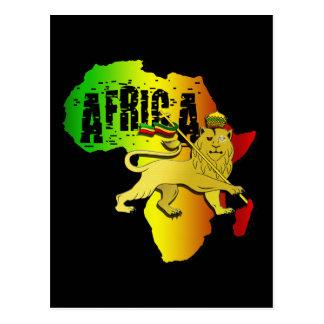 León continente africano de Rasta Judah del reggae Postales