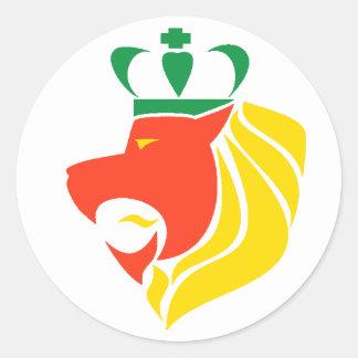 León coronado reggae de Rasta Pegatinas Redondas