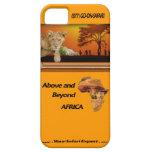 León Cub y tribu bajo árbol y collage de África iPhone 5 Case-Mate Funda