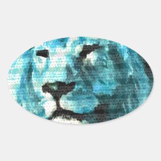 León de Bue Pegatina Ovalada