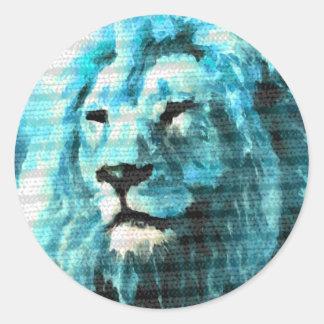 León de Bue Pegatina Redonda