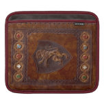 León de cuero medieval de la cubierta de libro des fundas para iPads