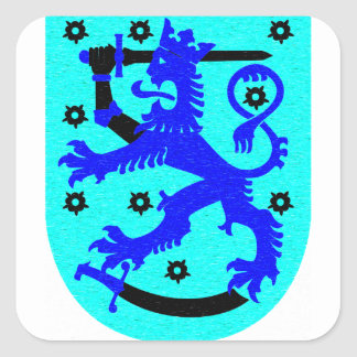 León de Finlandia y escudo de armas de la espada Pegatina Cuadrada