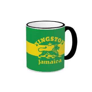 León de Kingston Rastafari en colores jamaicanos Taza De Dos Colores