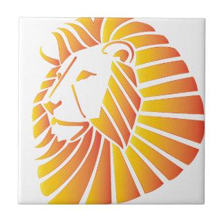 León de la puesta del sol azulejo cuadrado pequeño