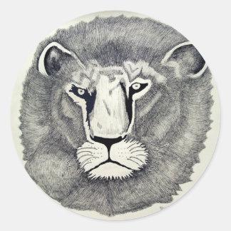 León de Leo por Piliero Pegatina Redonda
