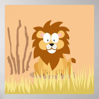 León de mi serie de los animales del mundo póster