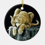 León de montaña adorno redondo de cerámica