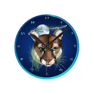 León de montaña de medianoche Wallclock Reloj Redondo Mediano