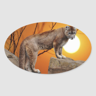 León de montaña en la puesta del sol pegatina ovalada