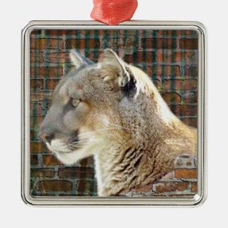 León de montaña/puma adorno navideño cuadrado de metal