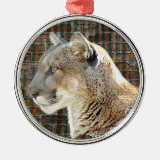 León de montaña/puma adorno navideño redondo de metal