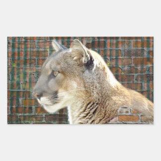 León de montaña/puma pegatina rectangular