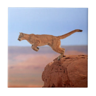 León de montaña teja  ceramica