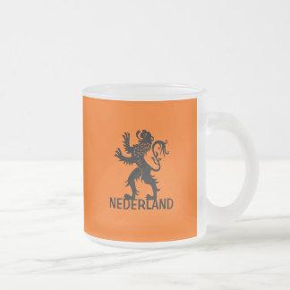 León de Nederland Taza De Café Esmerilada