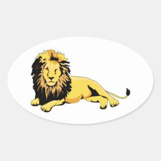 León de oro que se acuesta pegatina ovalada