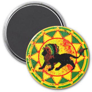 León de Rasta de la apariencia vintage Imán Redondo 7 Cm