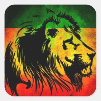 León de Rasta del reggae Calcomania Cuadradas Personalizada