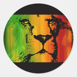 León de Rasta Pegatina Redonda