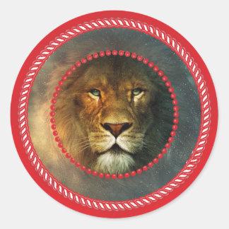 León de Redframe Pegatina Redonda
