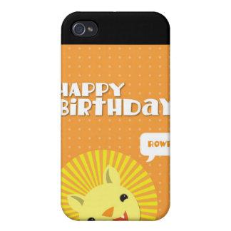 León de Rowr del feliz cumpleaños iPhone 4 Carcasa
