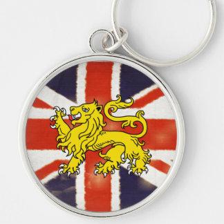 León de Union Jack del vintage del llavero del pre