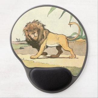 León de vagabundeo ilustrado alfombrillas de raton con gel