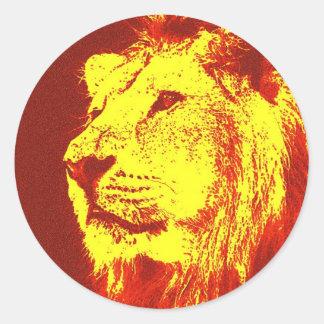 León del arte pop pegatina redonda