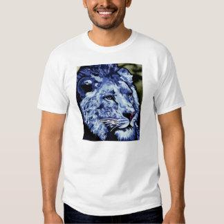 León del azul del dril de algodón remera