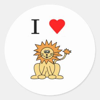 león del corazón i pegatina redonda