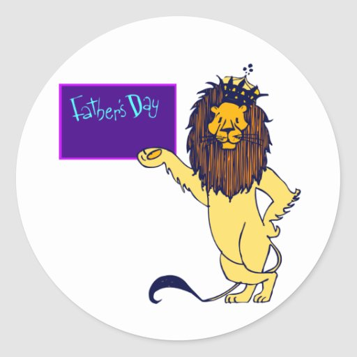 león del día de padres pegatina redonda