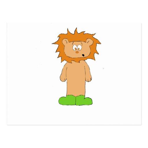León del dibujo animado con el pelo salvaje postal