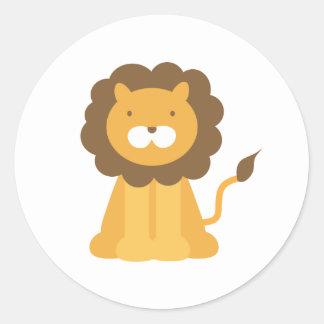 León del dibujo animado etiqueta redonda