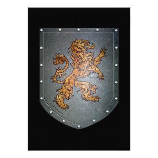 León del escudo del metal