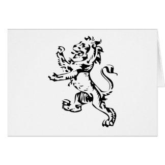 león del escudo tarjeta de felicitación