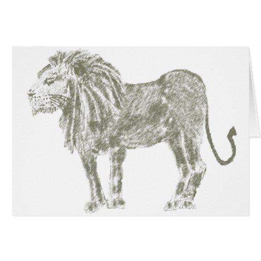 León del grafito tarjeta de felicitación
