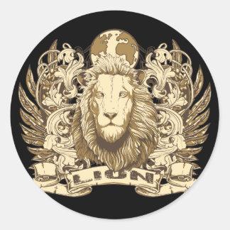 León del Grunge Etiquetas Redondas