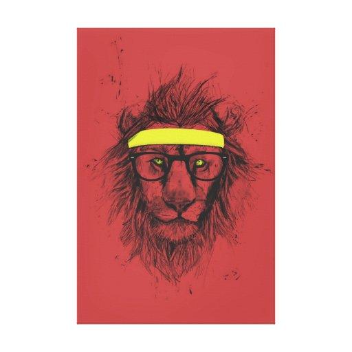 león del inconformista (rojo) lona estirada galerias