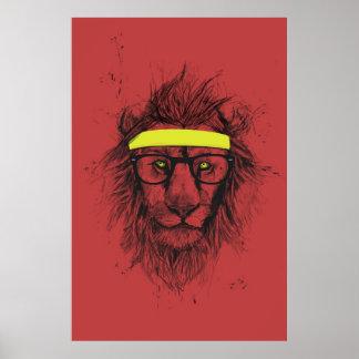 león del inconformista (rojo) póster