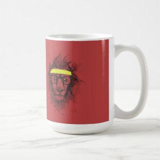 león del inconformista (rojo) taza básica blanca