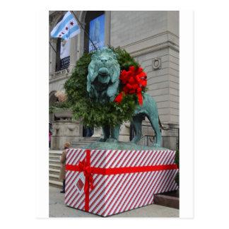 León del instituto del arte de Chicago adornado Postal