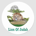 León del judah etiqueta redonda