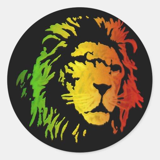León del león del reggae de Zion Judah Pegatina Redonda