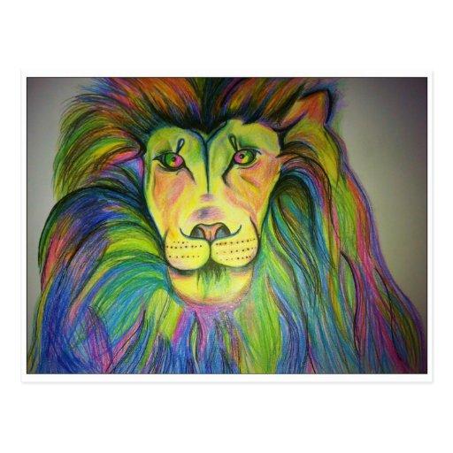 león del multicolo postal