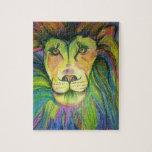 león del multicolo rompecabeza